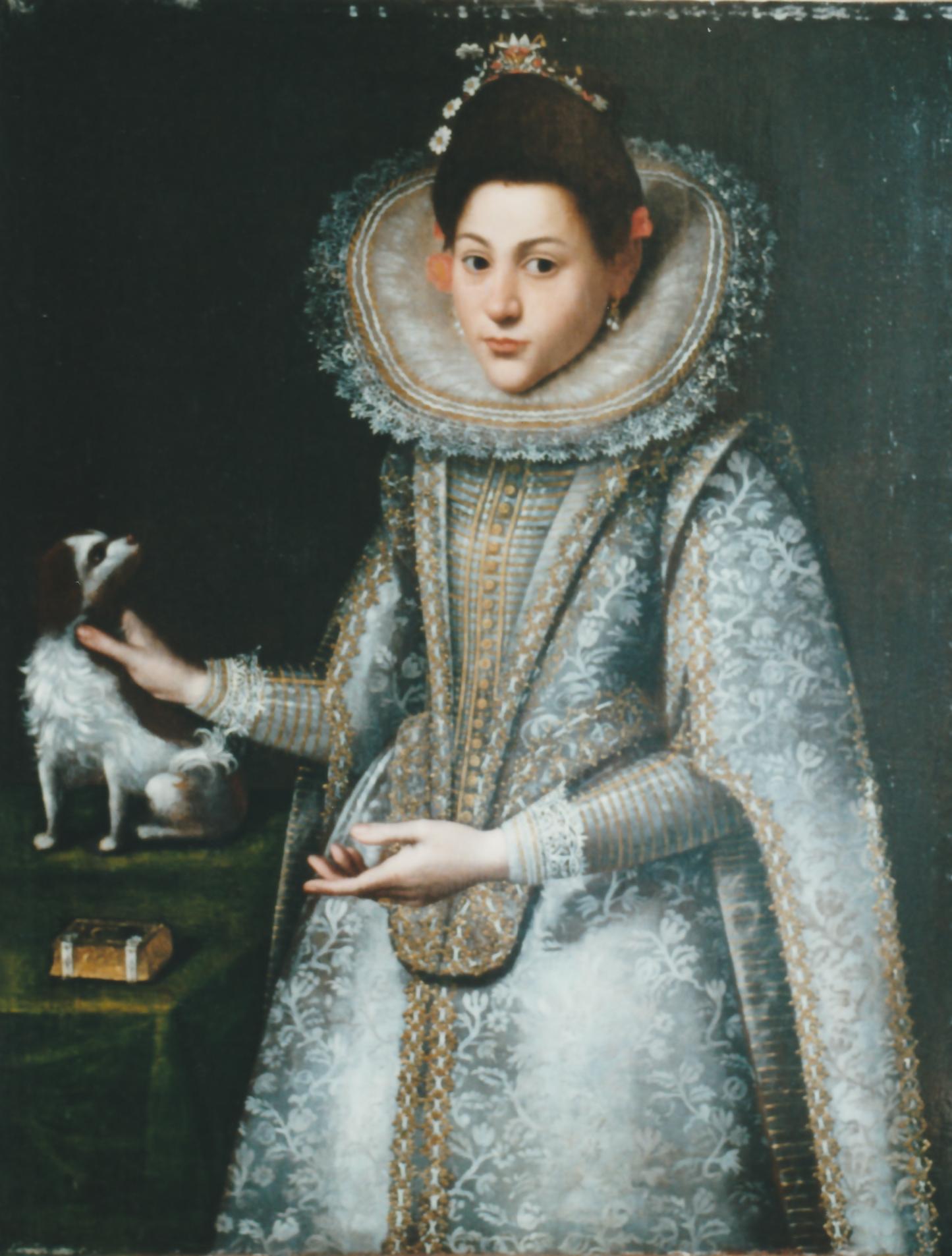 Ritratto di ragazza con cane e messale