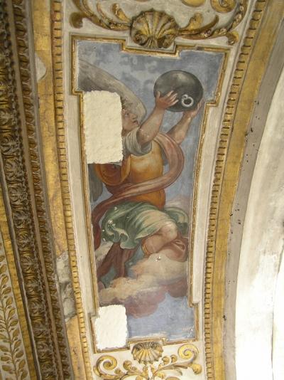 San Giovanni Battista dei Fiorentini Cappella Benozzi di Antonio Tempesta durante il restauro: stuccature - robertanadali.com