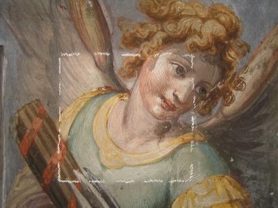 San Giovanni Battista dei Fiorentini Cappella Benozzi di Antonio Tempesta durante il restauro: tasselli - robertanadali.com