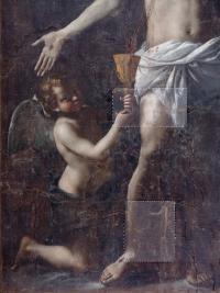 Cristo Salvator Mundi di Mattia Preti durante il restauro: tasselli - robertanadali.com