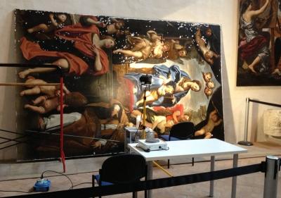 Madonna con Bambino e i Santi Petronio e Giovanni Evangelista durante il restauro - robertanadali.com