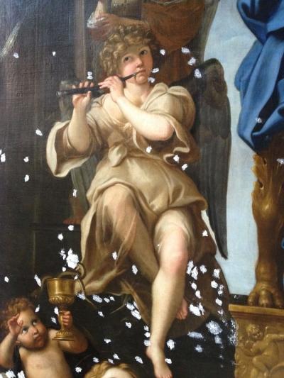 Madonna con Bambino e i Santi Petronio e Giovanni Evangelista durante il restauro: stuccature - robertanadali.com