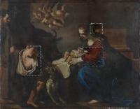 Natività del Guercino durante il restauro: tasselli - robertanadali.com